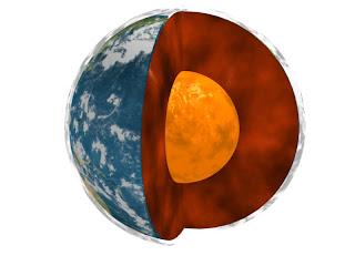 Ilustración artística de la Tierra en que se aprecia su estructura interna