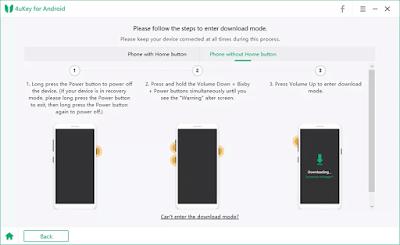 كيفية وضع الهواتف التي لا تحتوي على زر الصفحة الرئيسية في وضع التنزيل