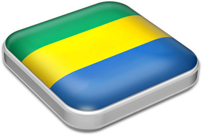 Flag of Gabon with metallic square frame
