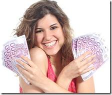 Una donna con i soldi