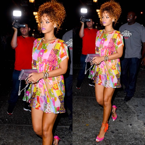 Rihanna in Spring 2015 Jeremy Scott Patchwork Dress