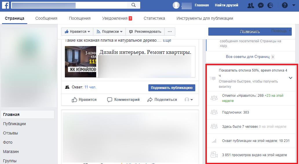 Статистика группы в Facebook