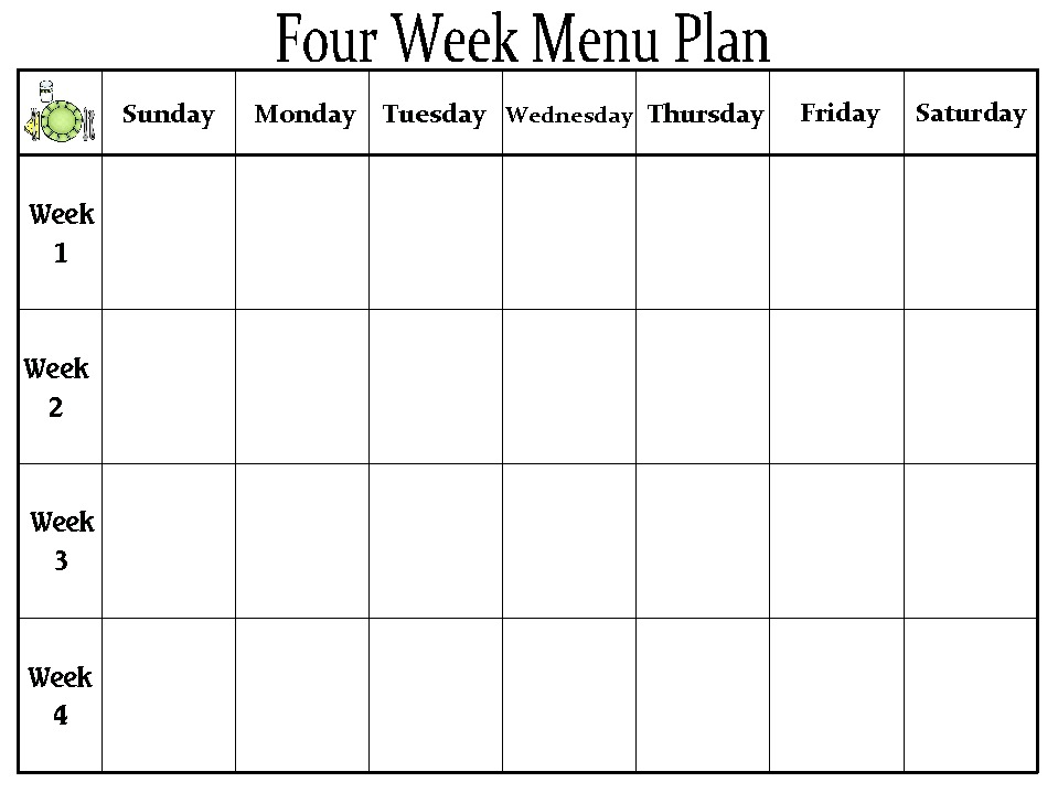 Blank Day Care Menu Template Pictures to Pin PinsDaddy – Monthly Menu Template
