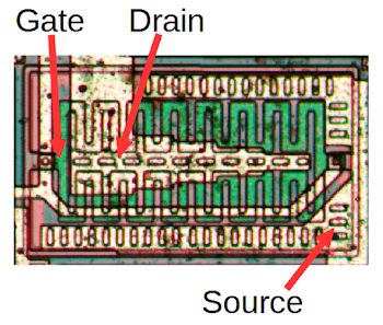 A large NMOS output transistor in the LMC555 CMOS timer chip.