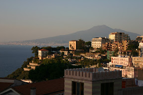 Sunset on Vico Equense with Naples and Mt. Vesuvius in the background