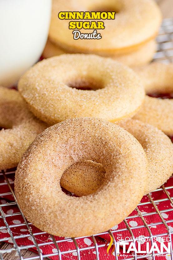 cinnamon sugar donuts in a pile
