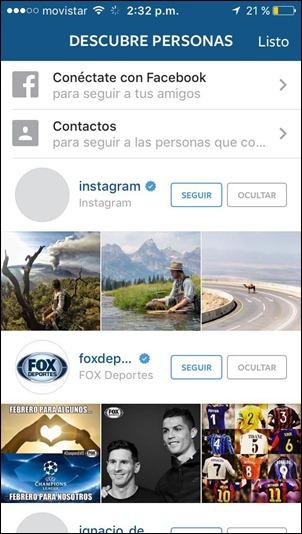 Descubrir personas en Instagram