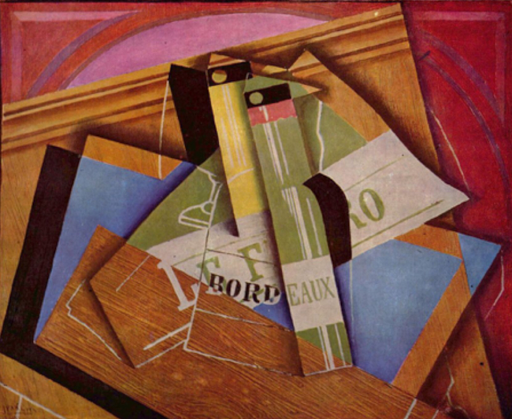 Still life with bottle of Bordeaux -Juan Gris [Public domain], via Wikimedia Commons