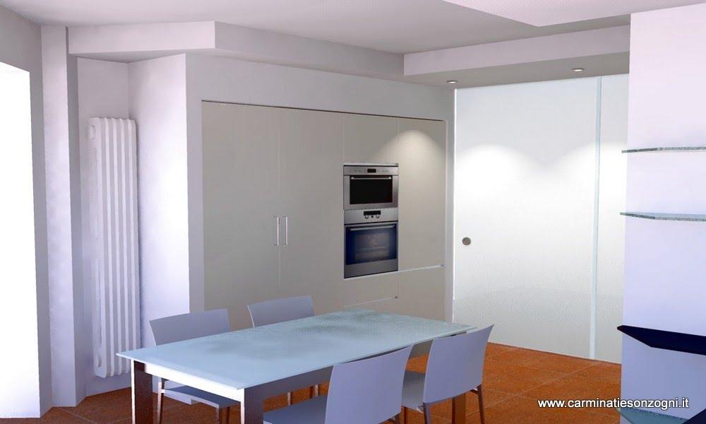 Progettazione arredamento con rendering 3d carminati e - Cucina incassata ...