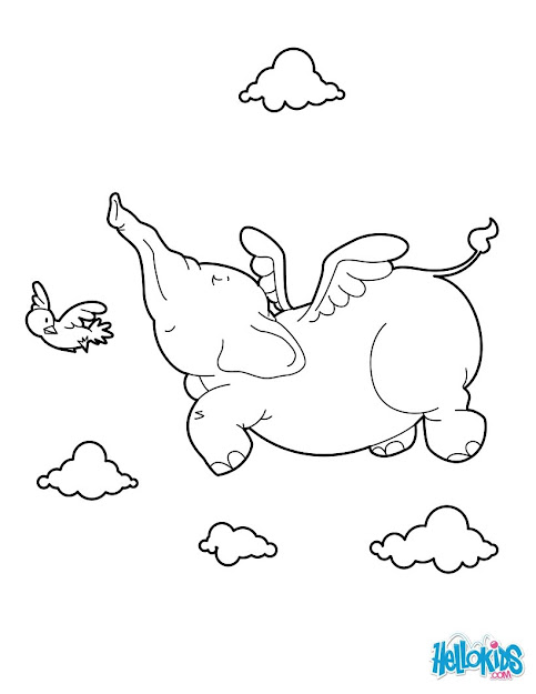 Elephant With Balloon Elephant Flying Coloring Page