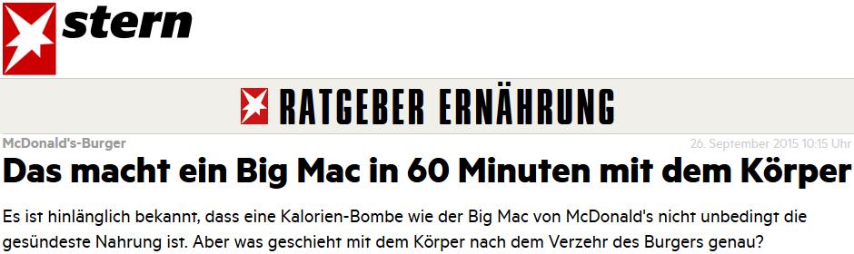 Das macht ein Big Mac in 60 Minuten mit dem Körper