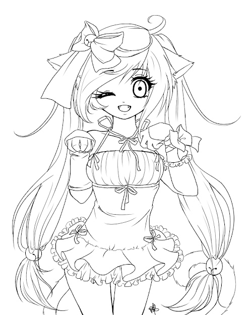Anime Vampire Girl Coloring Pages - Line Art PNG Image ... | 625x500