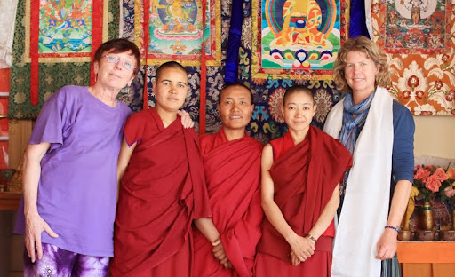 Marlies Bosch, Vens. Saldon, Dechen and Namdrol, and Mary Wellhoner, Gephel Shadrupling Nunnery, Ladakh, India, July 2012