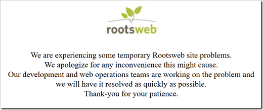 RootsWeb error message