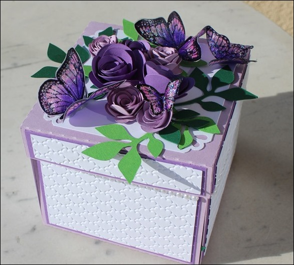 Explosion Box Wedding Purple Glitter Butterflies 01