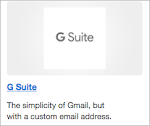 The G Suite link is below the G Suite logo icon