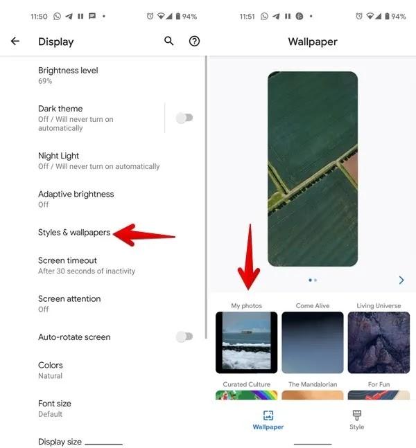 خلفية Android اختر صورة من المعرض