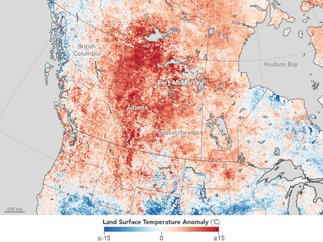 This map shows land surface temperature around Fort McMurray, Canada, from April 26 to May 3, 2016, compared to the 2000–2010 average for the same one-week period. Red areas were hotter than the long-term average; blue areas were below average. Graphic: Jesse Allen / NASA Earth Observatory