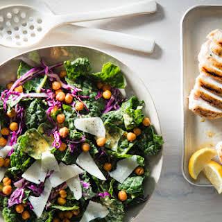 Kale Caesar with Grilled Chicken & Crispy Chickpeas.