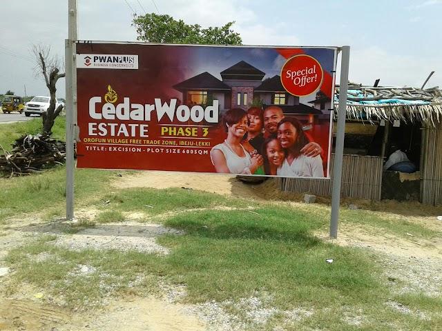 CEDARWOOD ESTATE PHASE 3, BEFORE LEKKI FREE TRADE ZONE (LAND FOR SALE)