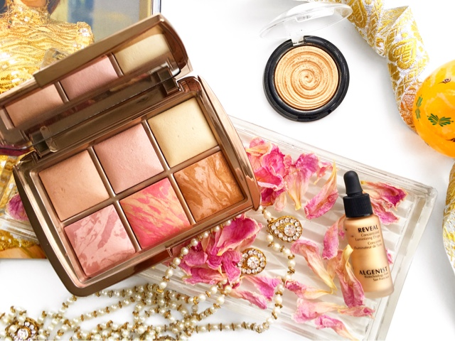 algenist reveal luminizing drops champagne, laura geller gilded honey swatch medium brown skin, hourglass luminous bronze light swatch medium brown skin, hourglass ambient edit palette