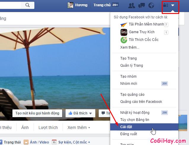 Bước 1: Vào mục Thiết lập Facebook