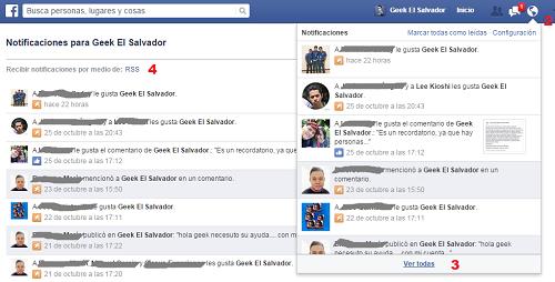 Obtener el feed RSS de las notificaciones de una página Facebook