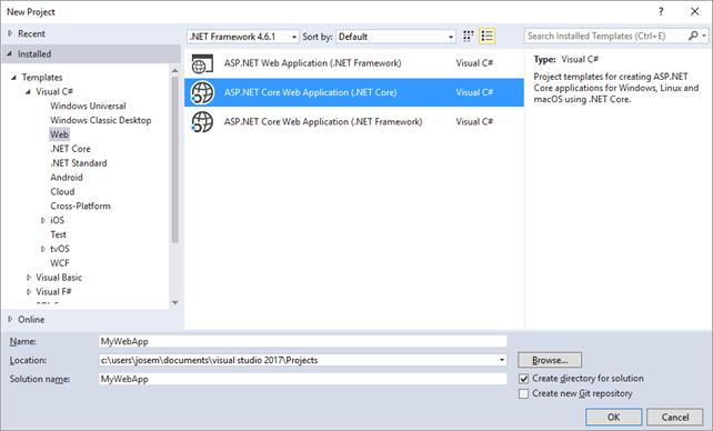 Cuadro de diálogo de creación de proyecto ASP.NET Core en Visual Studio 2017