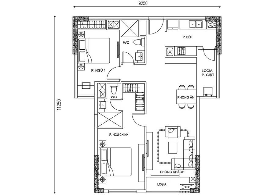 Thông số chi tiết căn hộ 2 phòng ngủ DT: 79.03m²