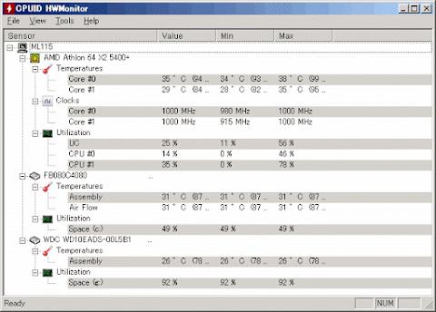 交換後CPU使用率25%でCPU温度35℃
