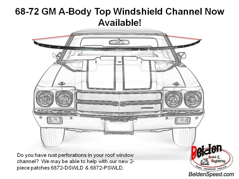 1968-1972 GM A-Body Upper Windshield Channel Patch Now