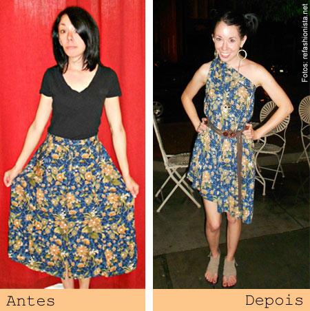 ReFashionista transforma roupas - saia longa em vestido