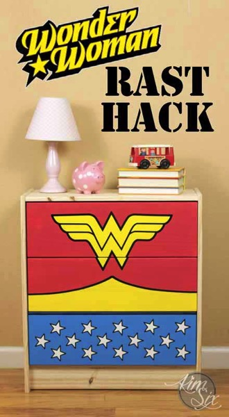 A wonder woman rast hack? So cute! She painted the drawers with the wonder woman logo and colors. So easy, would be perfect in a little superhero bedroom!