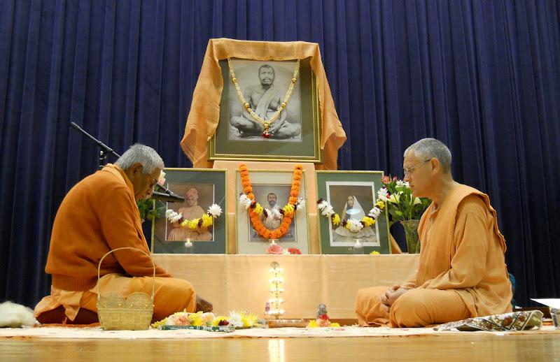Swamis Brahmarupananda and Atmajnanananda perform Sri Ramakrishna Puja