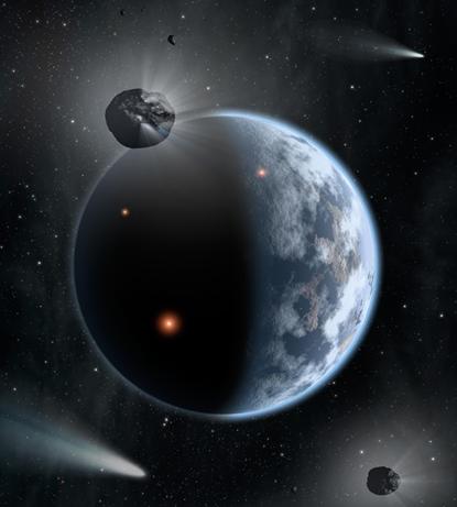 ilustração de planeta parecido com a Terra