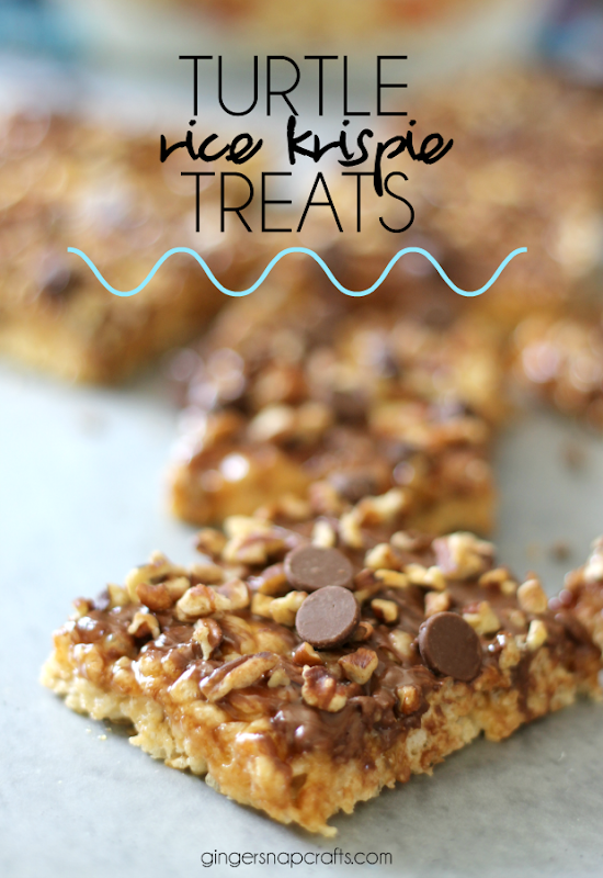 Turtle Rice Krispie Treats at GingerSnapCrafts.com #recipe #dessert