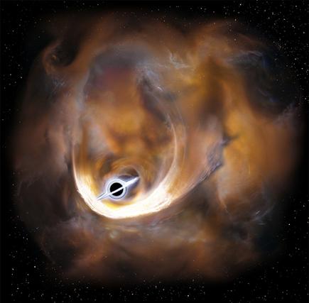 ilustração de nuvens dispersas por um buraco negro