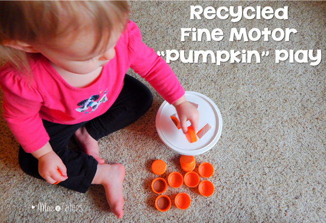 recycled Fine motor pumpkin play