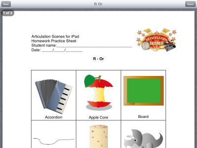 Articulation Scenes Homework