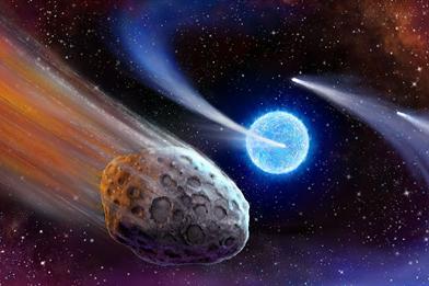 ilustração de exocometa em sistema estelar