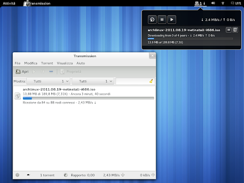 Transmission Daemon Indicator in Gnome Shell su Arch Linux