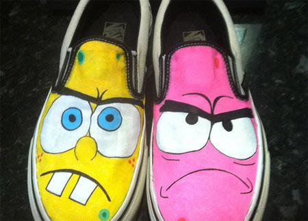 Tênis Vans customizados com personagens de desenhos animados - Bob Esponja