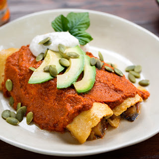 Vegan Eggplant and Portabello Enchiladas with Paprika-Lime Cashew Cream