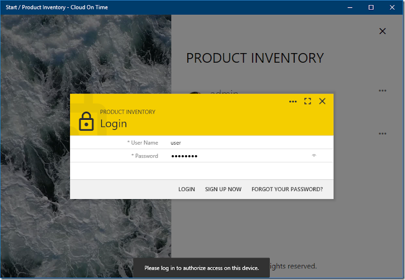 Adding an identity to a cloud in native Universal Windows Platform app Cloud On Time.