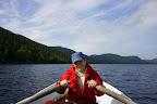 Vi stannade en dag vid Sannaren och hyrde båt för att prova vår fiskelycka