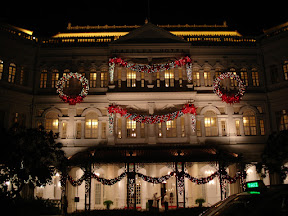 Raffles Hotel decorated for Christmas