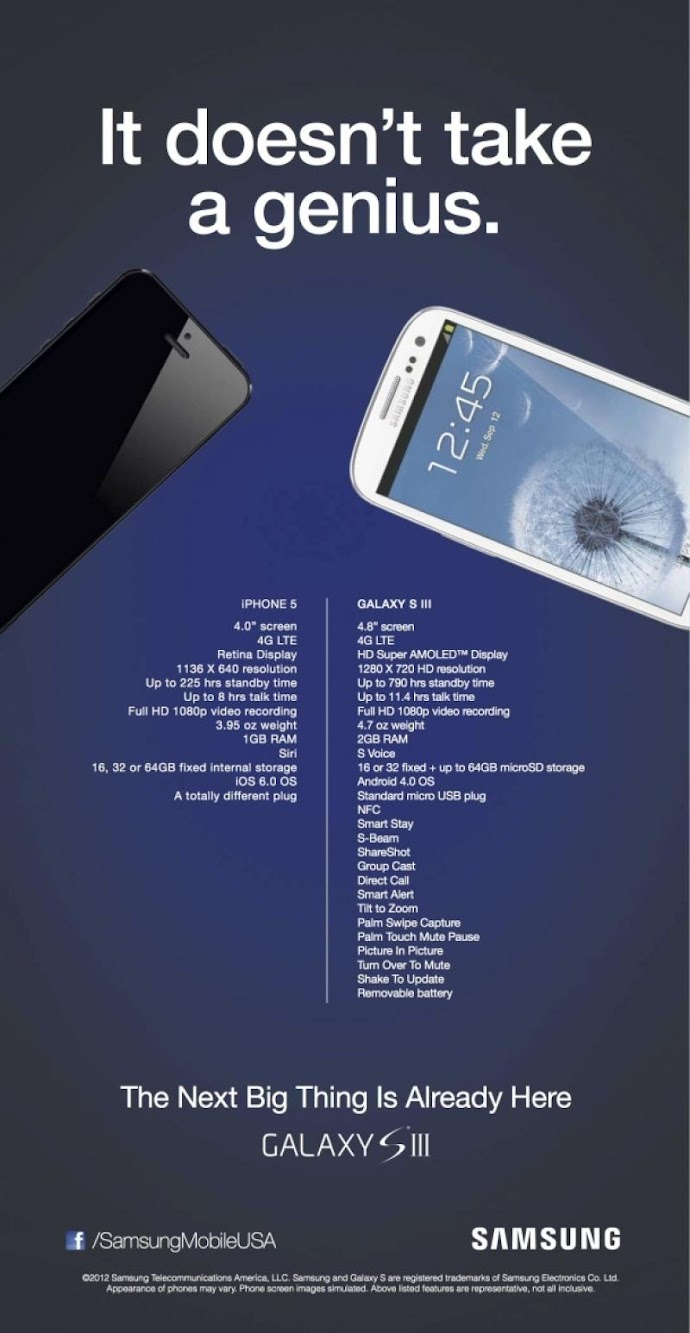Samsung S3 vs Apple iPhone 5 Print ad Style