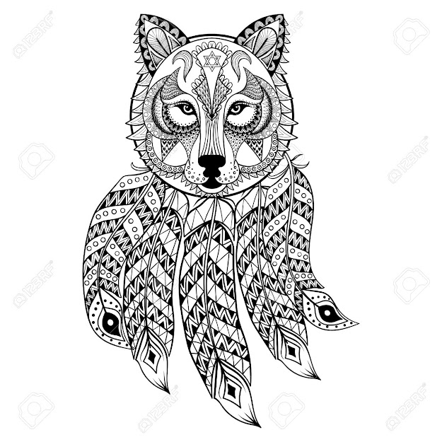 Adult Fox Vector Ornamental Wolf With Dreamcatcher Ethnic Zentangled  Mascot Amulet Mask