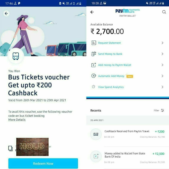 Paytm Bug - Earn Rs.200 Cash For Free With Bus Ticket Voucher.