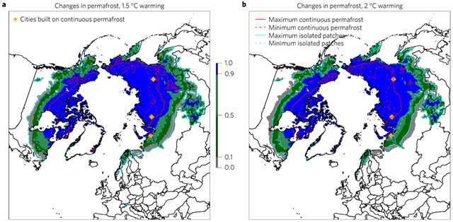 Changes in spatial patterns of permafrost under future stabilization scenarios. a,b, The shaded areas show estimated historical permafrost distribution (1960–1990), and contours show the plausible range of zonal boundaries under 1.5◦C stabilization (a) and under 2◦C stabilization (b). Graphic: Chadburn, et al., 2017 / Nature Climate Change